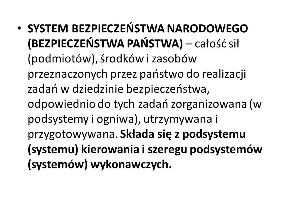 SYSTEM BEZPIECZEŃSTWA NARODOWEGO (BEZPIECZEŃSTWA PAŃSTWA) – całość sił (podmiotów), środków i zasobów przeznaczonych przez państwo do realizacji zadań w dziedzinie bezpieczeństwa, odpowiednio do tych zadań zorganizowana (w podsystemy i ogniwa), utrzymywana i przygotowywana.