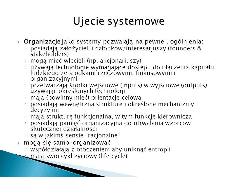 Ujecie systemowe Organizacje jako systemy pozwalają na pewne uogólnienia: posiadają założycieli i członków/interesarjuszy (founders & stakeholders)