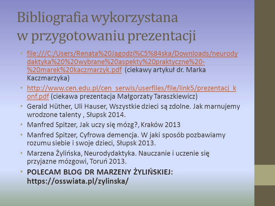Bibliografia wykorzystana w przygotowaniu prezentacji