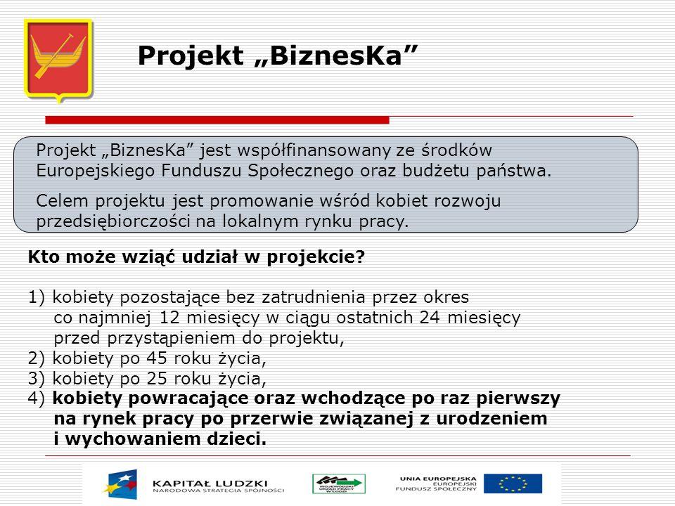 """Projekt """"BiznesKa Projekt """"BiznesKa jest współfinansowany ze środków Europejskiego Funduszu Społecznego oraz budżetu państwa."""