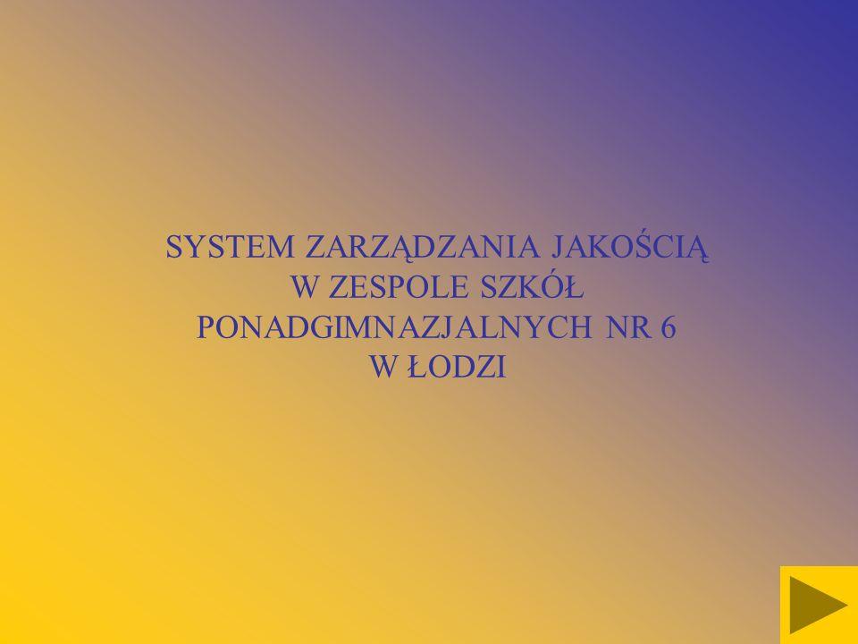 SYSTEM ZARZĄDZANIA JAKOŚCIĄ W ZESPOLE SZKÓŁ PONADGIMNAZJALNYCH NR 6