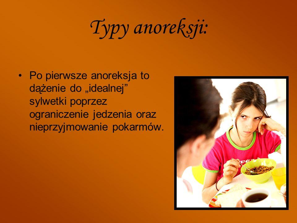 """Typy anoreksji: Po pierwsze anoreksja to dążenie do """"idealnej sylwetki poprzez ograniczenie jedzenia oraz nieprzyjmowanie pokarmów."""