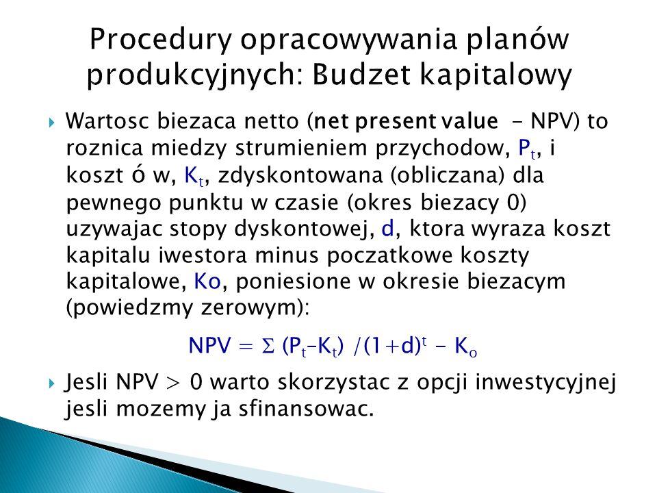 Procedury opracowywania planów produkcyjnych: Budzet kapitalowy