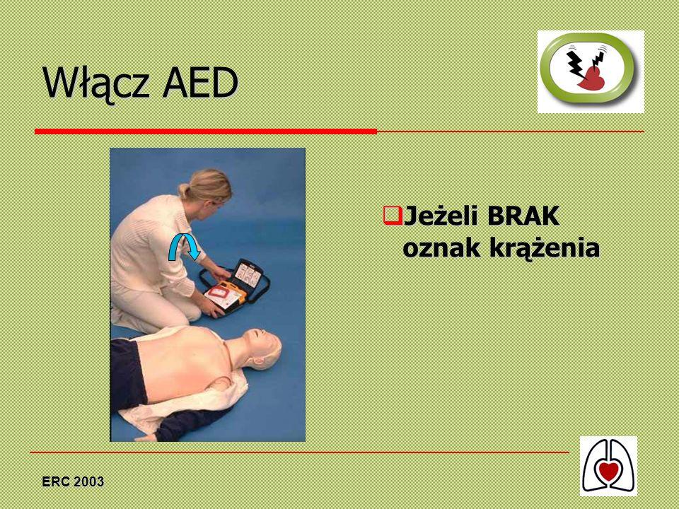 Włącz AED Jeżeli BRAK oznak krążenia ERC 2003
