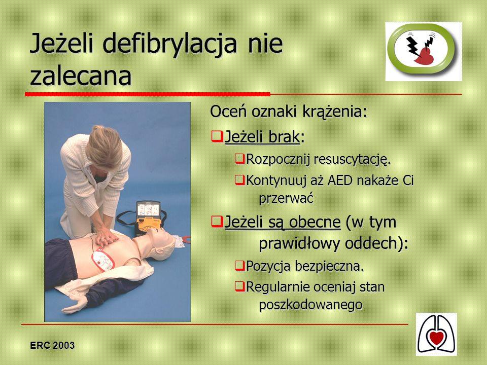 Jeżeli defibrylacja nie zalecana
