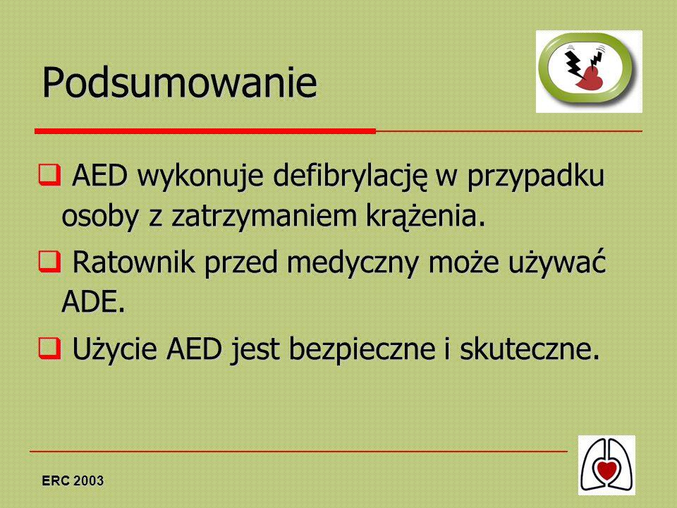 Podsumowanie AED wykonuje defibrylację w przypadku osoby z zatrzymaniem krążenia. Ratownik przed medyczny może używać ADE.