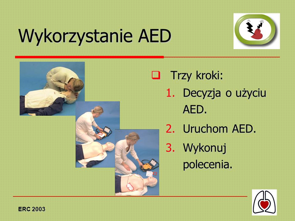 Wykorzystanie AED Trzy kroki: Decyzja o użyciu AED. Uruchom AED.