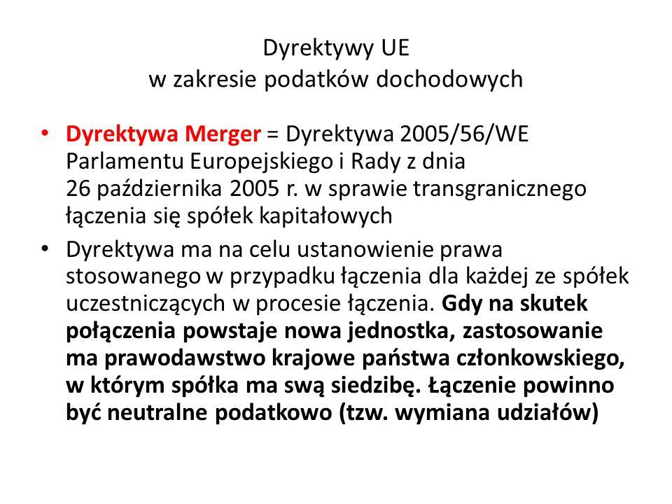 Dyrektywy UE w zakresie podatków dochodowych