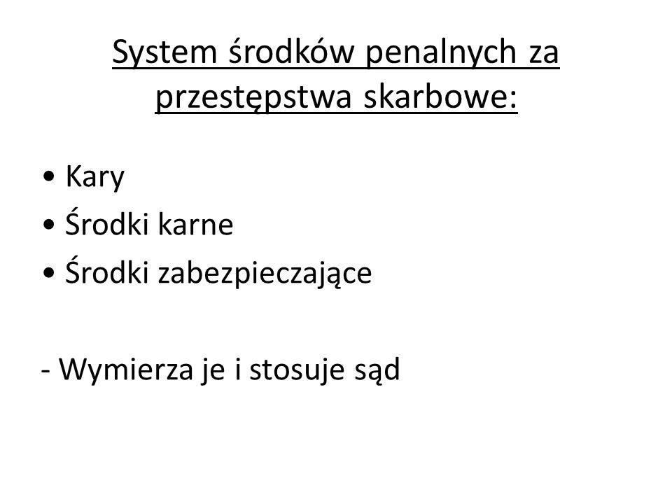 System środków penalnych za przestępstwa skarbowe: