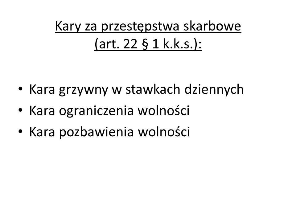 Kary za przestępstwa skarbowe (art. 22 § 1 k.k.s.):