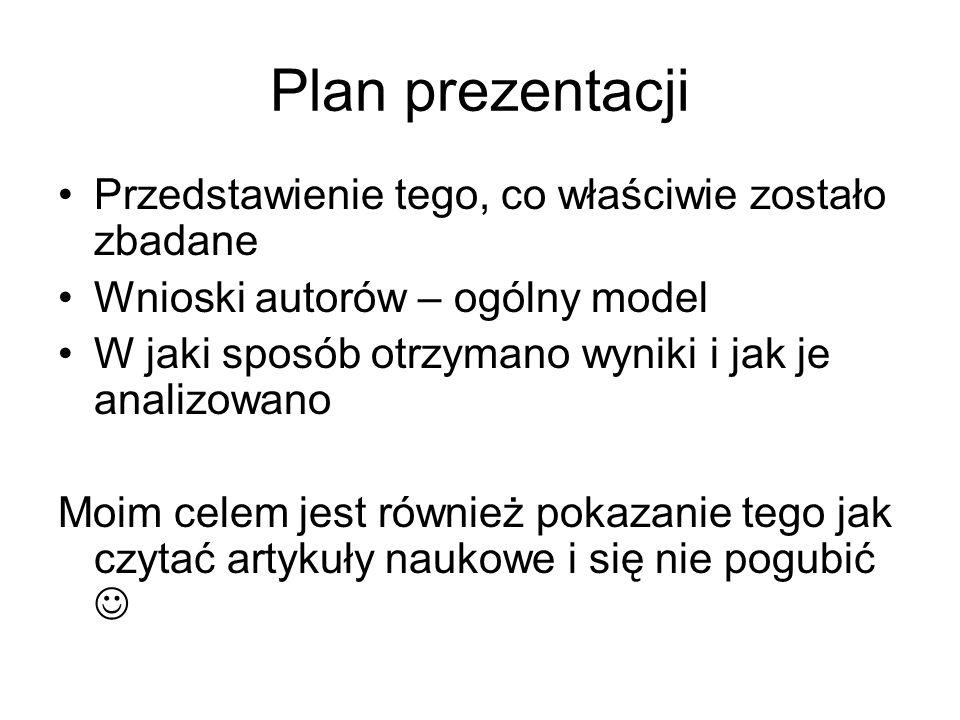 Plan prezentacji Przedstawienie tego, co właściwie zostało zbadane