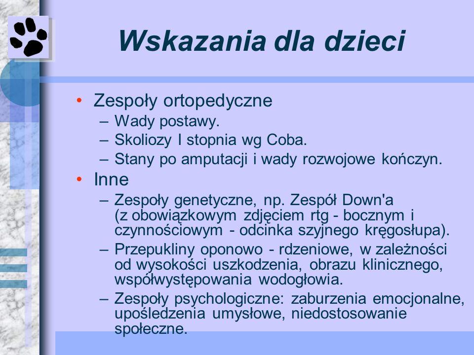 Wskazania dla dzieci Zespoły ortopedyczne Inne Wady postawy.
