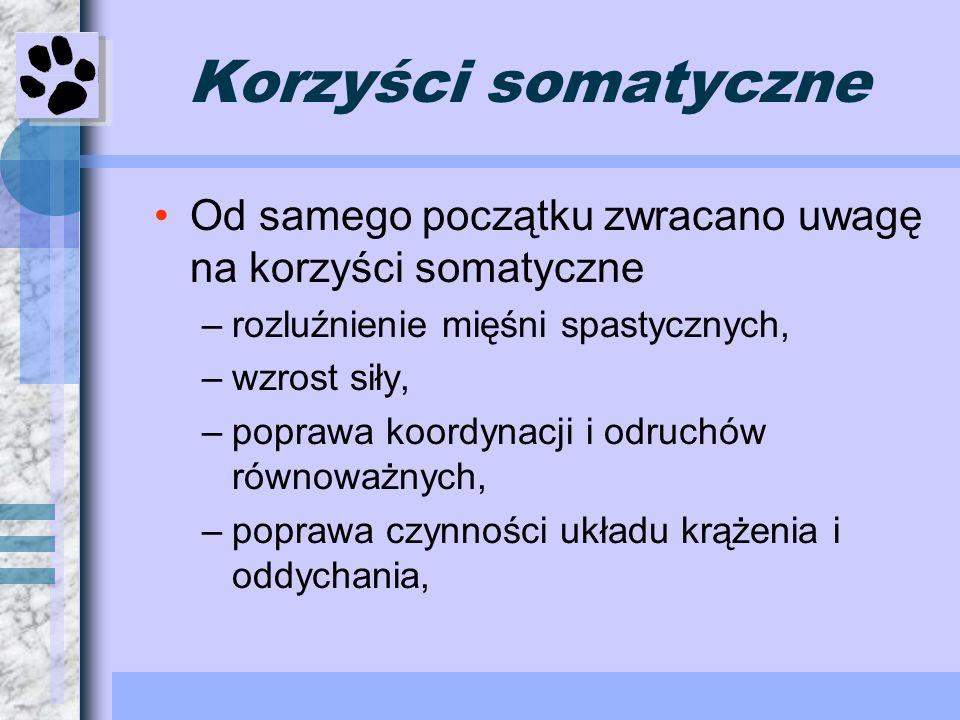 Korzyści somatyczne Od samego początku zwracano uwagę na korzyści somatyczne. rozluźnienie mięśni spastycznych,