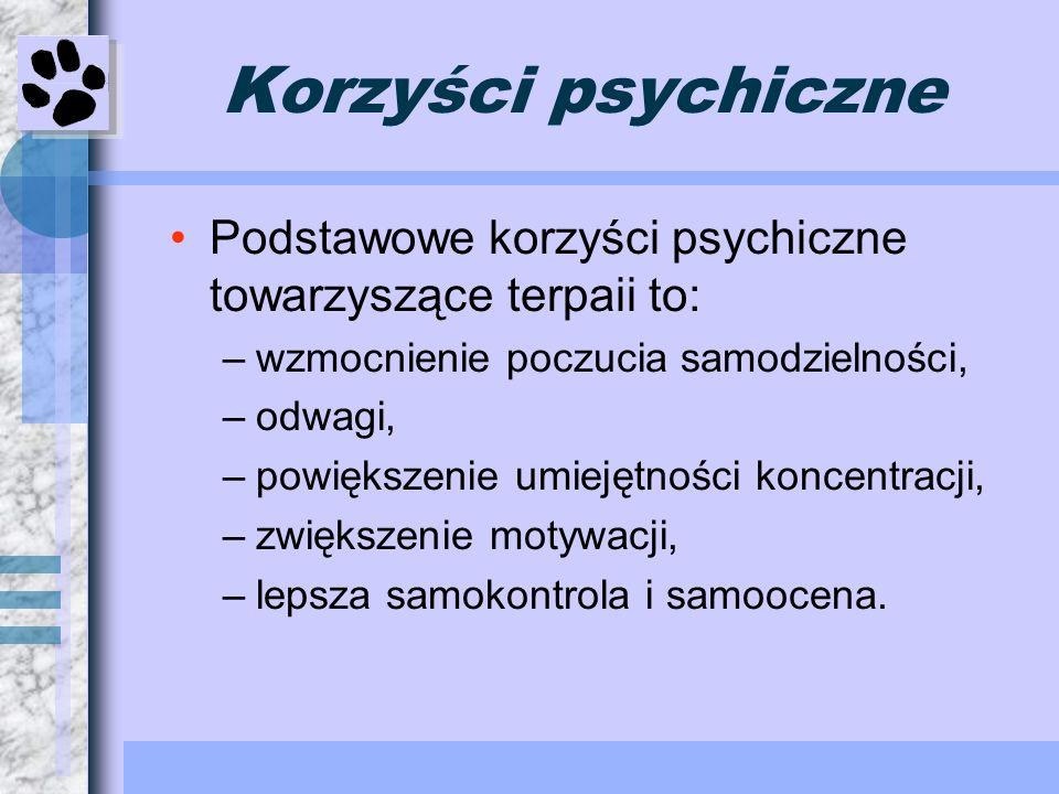 Korzyści psychicznePodstawowe korzyści psychiczne towarzyszące terpaii to: wzmocnienie poczucia samodzielności,