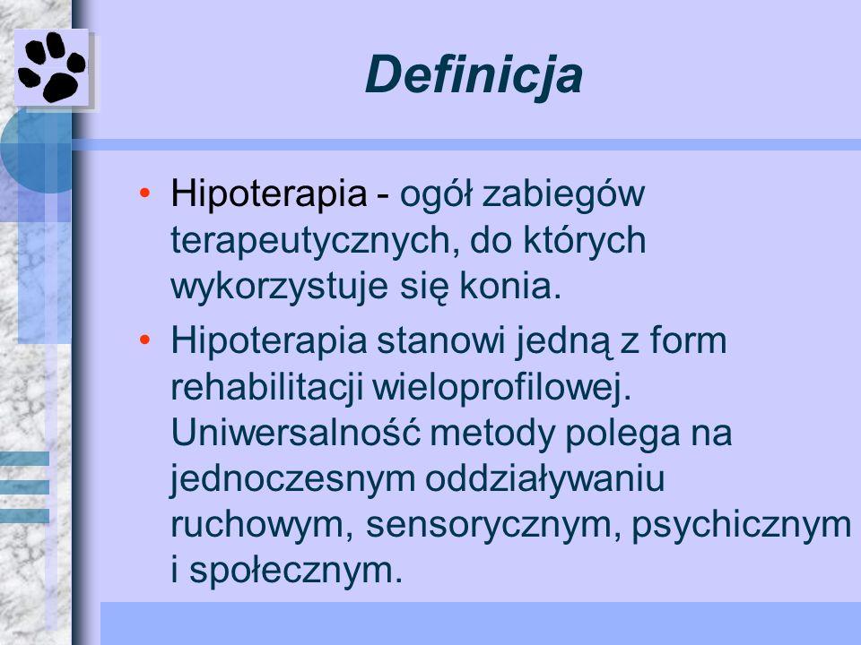 DefinicjaHipoterapia - ogół zabiegów terapeutycznych, do których wykorzystuje się konia.