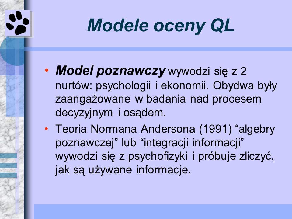 Modele oceny QL Model poznawczy wywodzi się z 2 nurtów: psychologii i ekonomii. Obydwa były zaangażowane w badania nad procesem decyzyjnym i osądem.