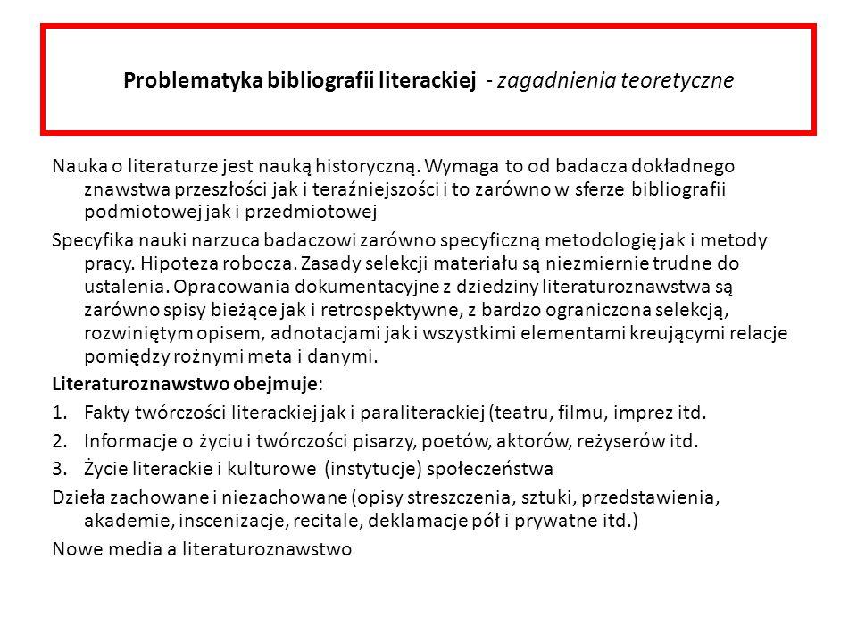 Problematyka bibliografii literackiej - zagadnienia teoretyczne
