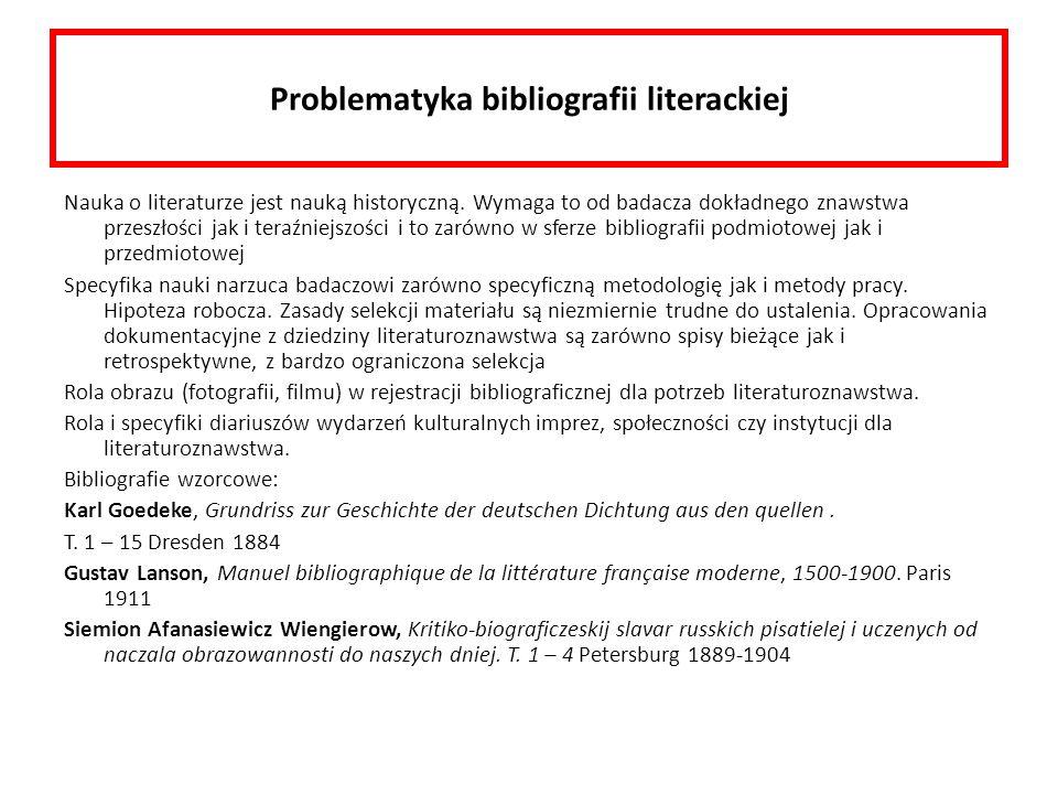 Problematyka bibliografii literackiej