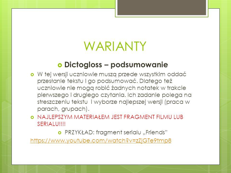 WARIANTY Dictogloss – podsumowanie