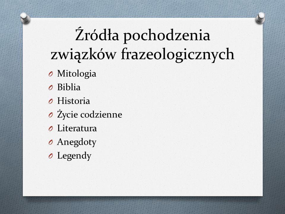 Źródła pochodzenia związków frazeologicznych