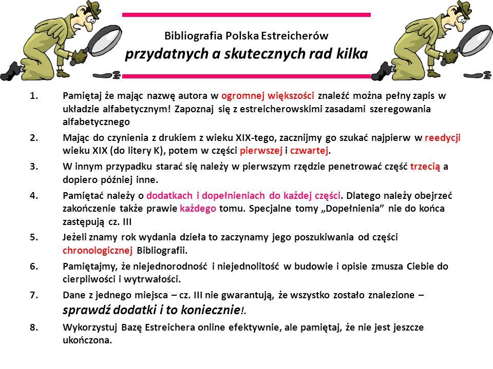 Bibliografia Polska Estreicherów przydatnych a skutecznych rad kilka