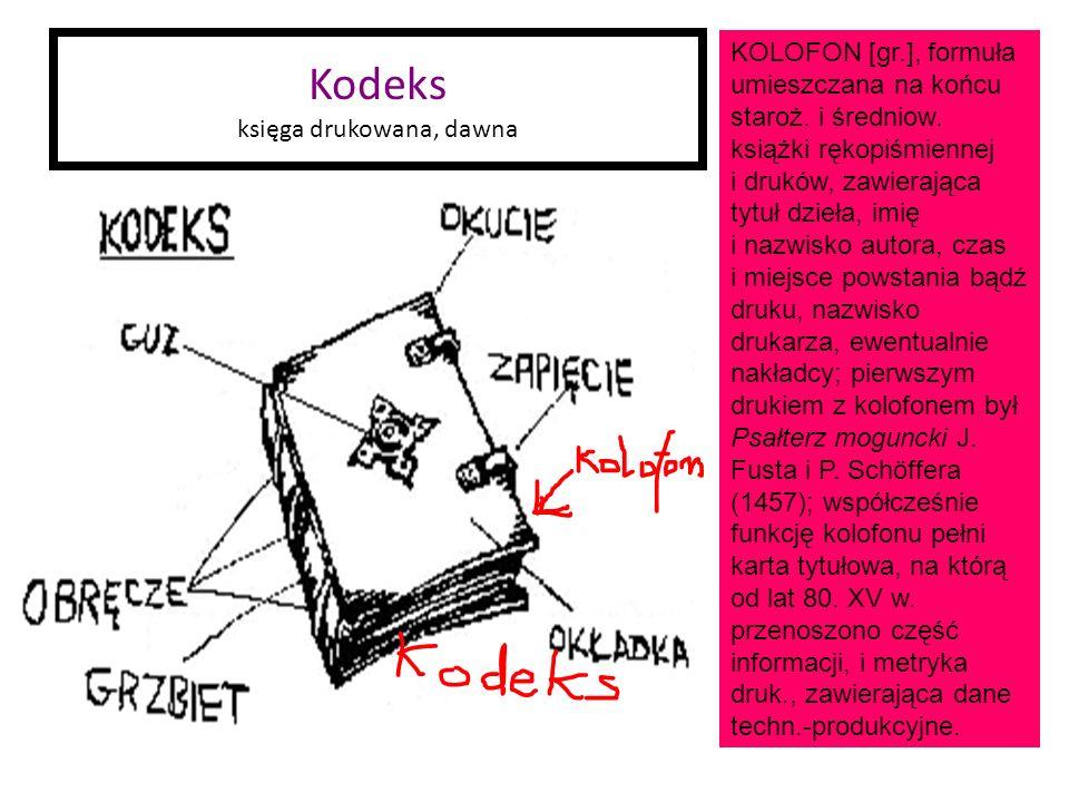 Kodeks księga drukowana, dawna