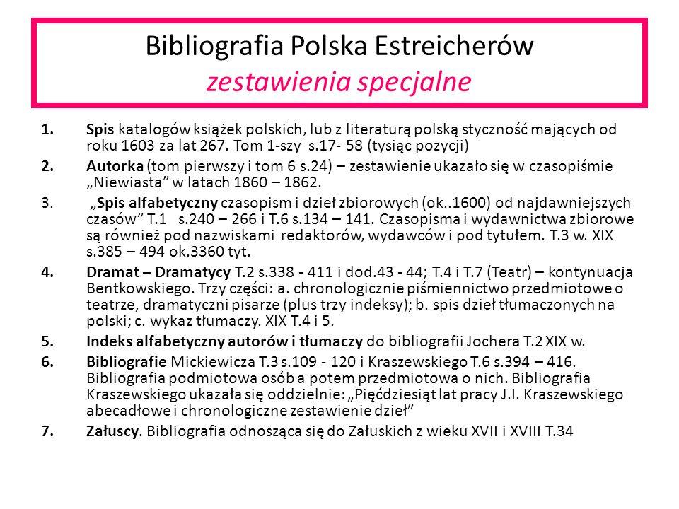 Bibliografia Polska Estreicherów zestawienia specjalne