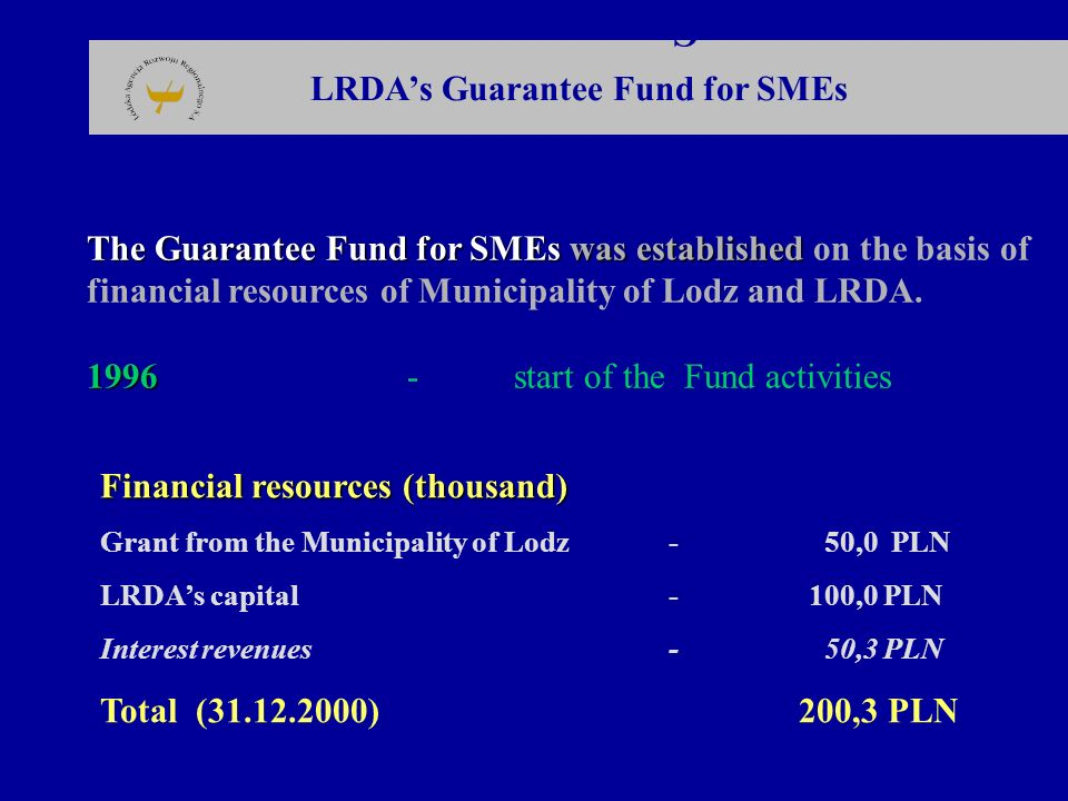 LRDA's Guarantee Fund for SMEs