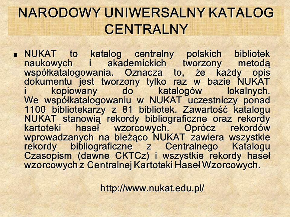 NARODOWY UNIWERSALNY KATALOG CENTRALNY