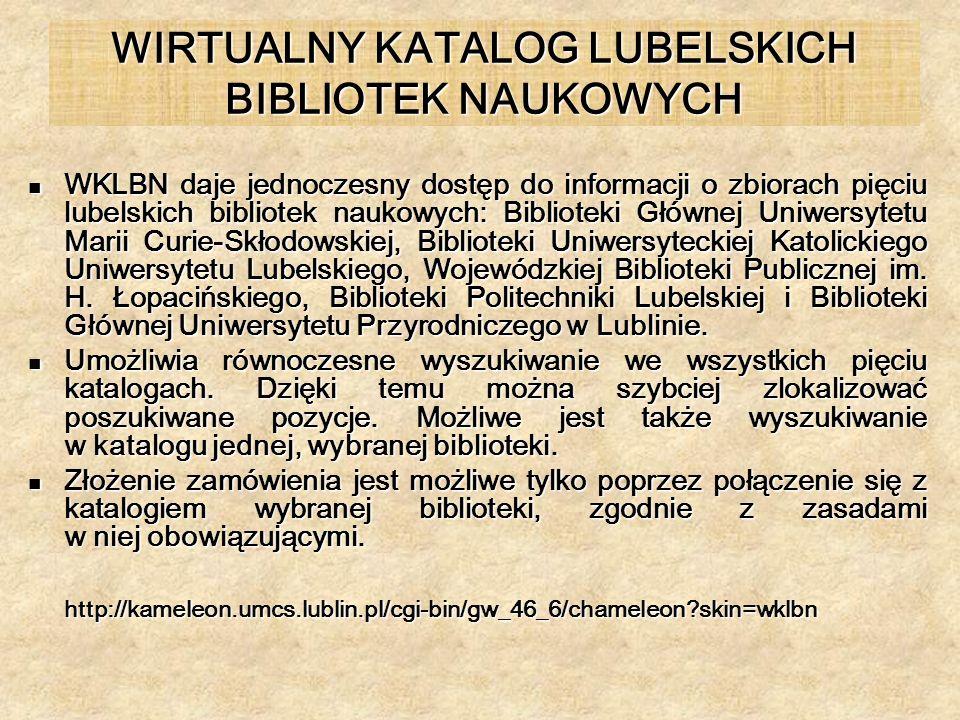 WIRTUALNY KATALOG LUBELSKICH BIBLIOTEK NAUKOWYCH