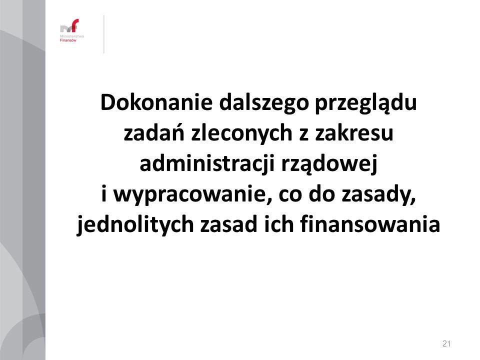 Dokonanie dalszego przeglądu zadań zleconych z zakresu administracji rządowej i wypracowanie, co do zasady, jednolitych zasad ich finansowania