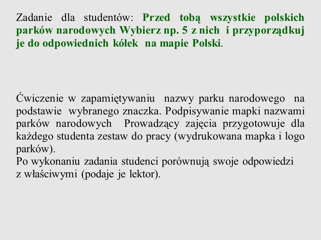 Zadanie dla studentów: Przed tobą wszystkie polskich parków narodowych Wybierz np. 5 z nich i przyporządkuj je do odpowiednich kółek na mapie Polski.