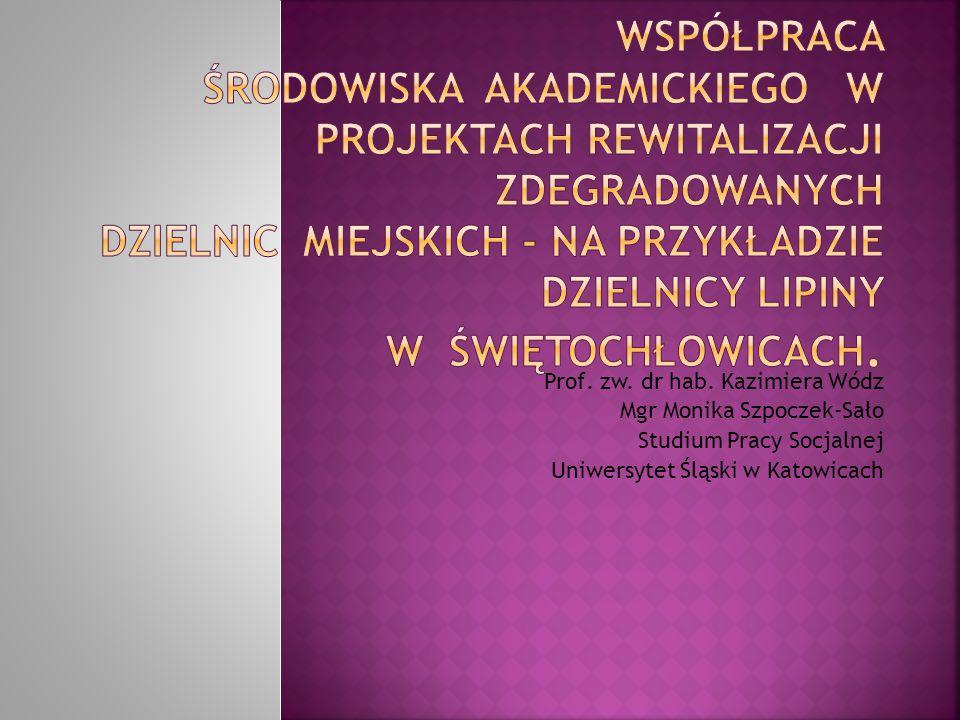 Współpraca środowiska akademickiego w projektach rewitalizacji zdegradowanych dzielnic miejskich - na przykładzie dzielnicy Lipiny w Świętochłowicach.