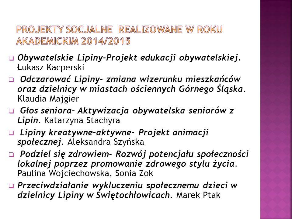 Projekty socjalne Realizowane w roku akademickim 2014/2015