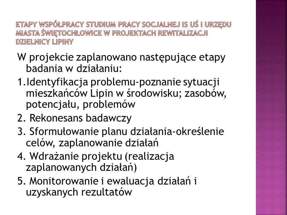 W projekcie zaplanowano następujące etapy badania w działaniu: