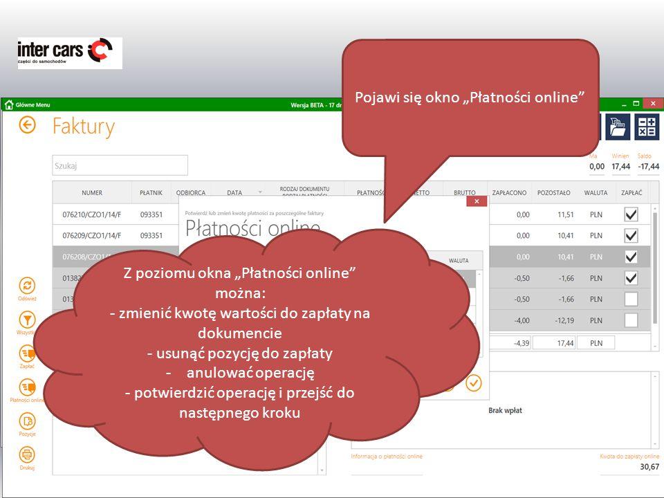 """Pojawi się okno """"Płatności online"""