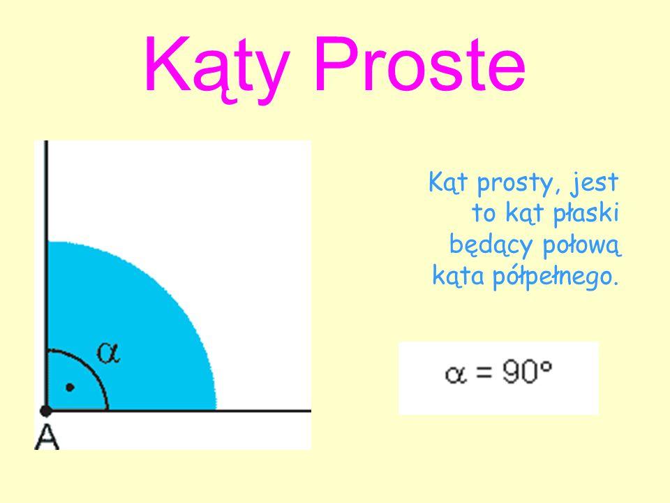 Kąty Proste Kąt prosty, jest to kąt płaski będący połową kąta półpełnego.