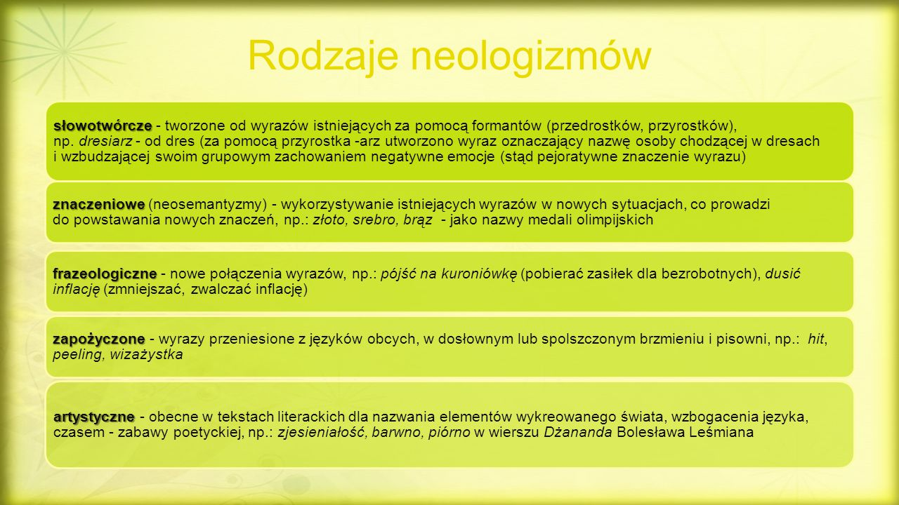 Rodzaje neologizmów