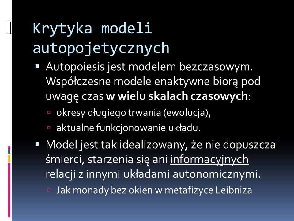 Krytyka modeli autopojetycznych