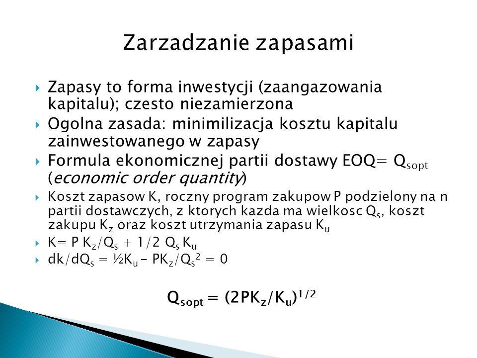 Zarzadzanie zapasami Zapasy to forma inwestycji (zaangazowania kapitalu); czesto niezamierzona.