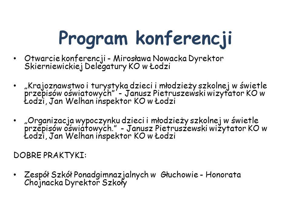 Program konferencji Otwarcie konferencji - Mirosława Nowacka Dyrektor Skierniewickiej Delegatury KO w Łodzi.