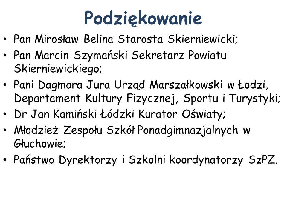 Podziękowanie Pan Mirosław Belina Starosta Skierniewicki;