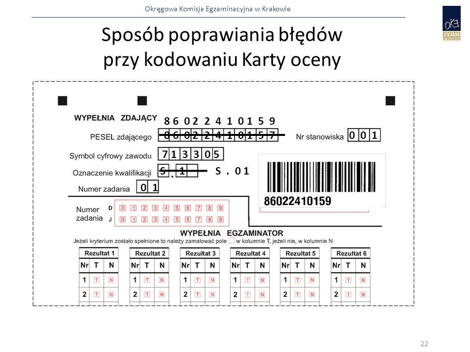 Sposób poprawiania błędów przy kodowaniu Karty oceny