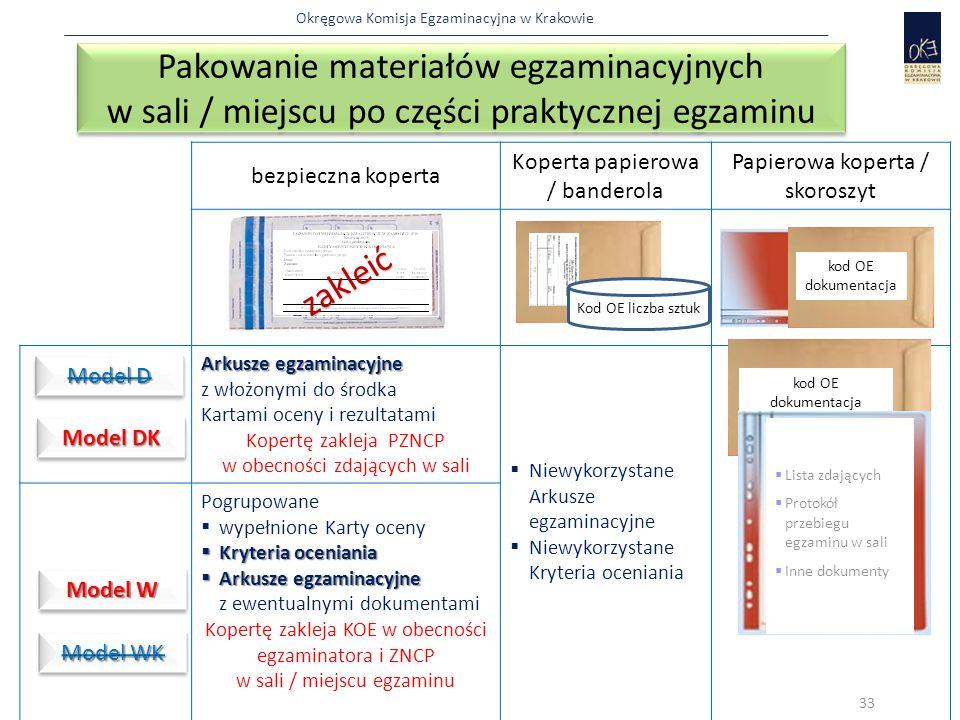 Pakowanie materiałów egzaminacyjnych w sali / miejscu po części praktycznej egzaminu