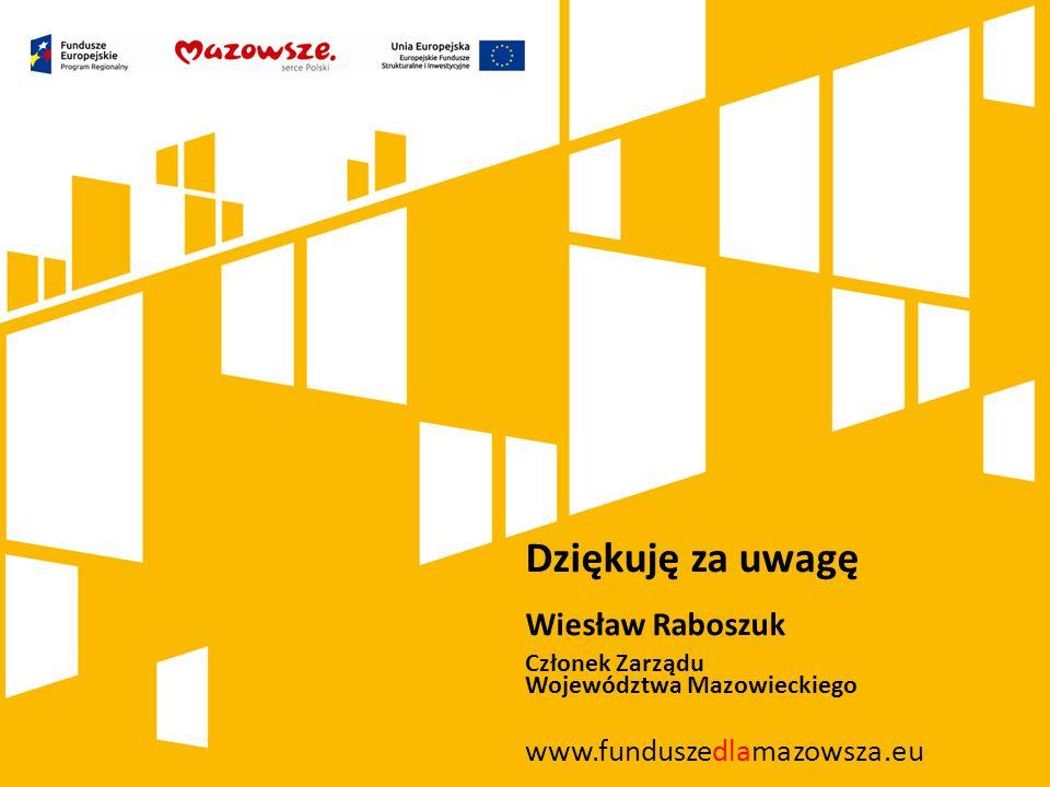 Dziękuję za uwagę Wiesław Raboszuk www.funduszedlamazowsza.eu