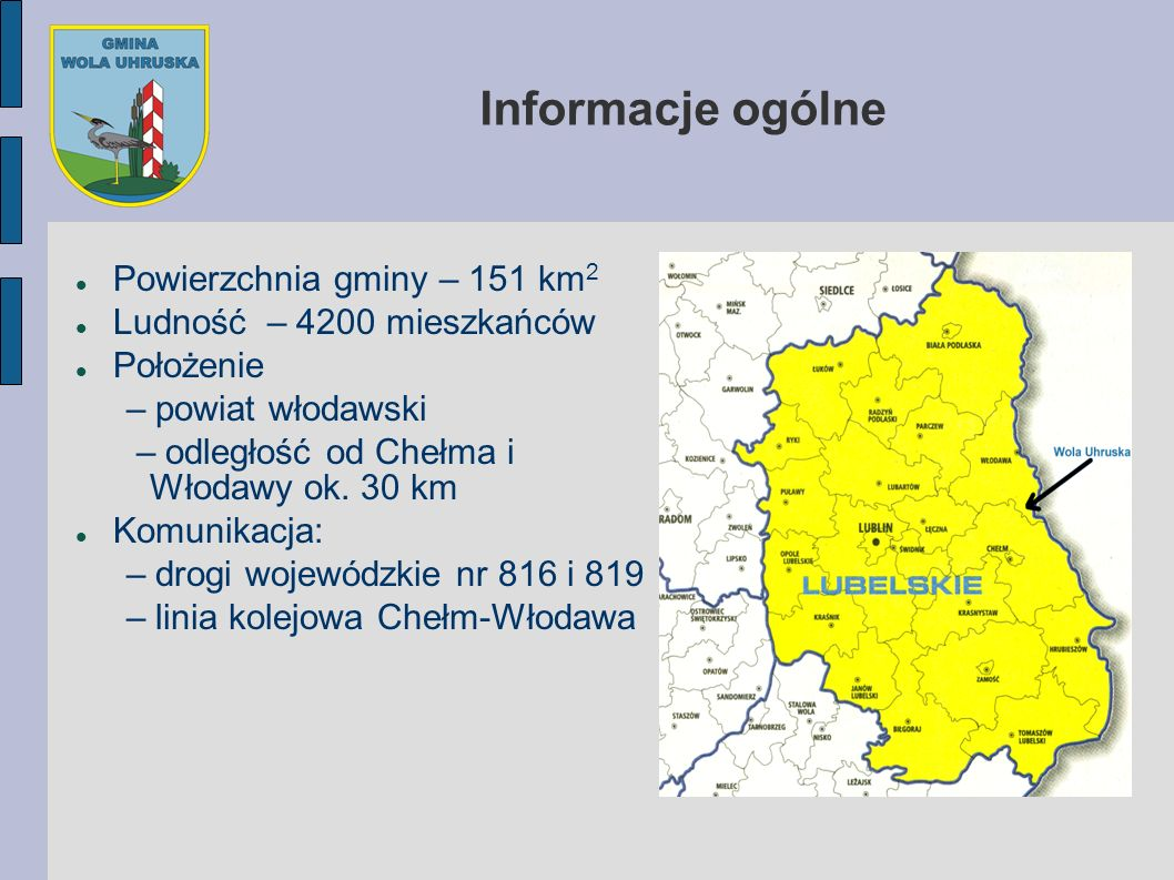 Informacje ogólne Powierzchnia gminy – 151 km2