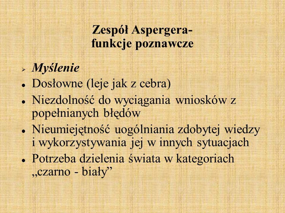 Zespół Aspergera- funkcje poznawcze