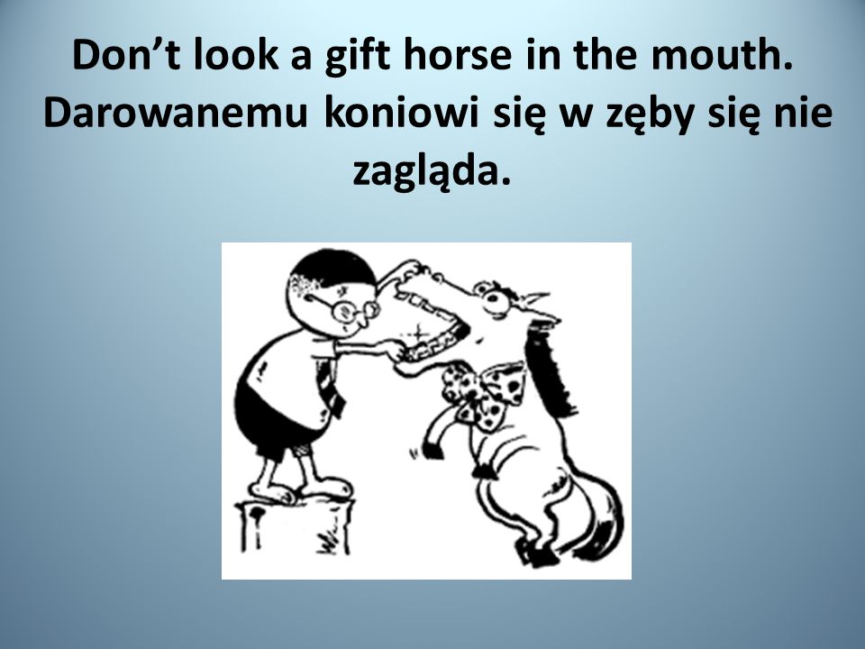 Don't look a gift horse in the mouth