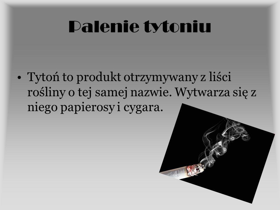 Palenie tytoniu Tytoń to produkt otrzymywany z liści rośliny o tej samej nazwie.