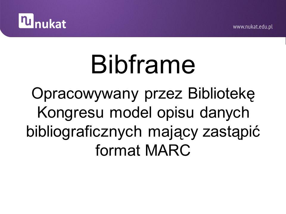 Bibframe Opracowywany przez Bibliotekę Kongresu model opisu danych bibliograficznych mający zastąpić format MARC.